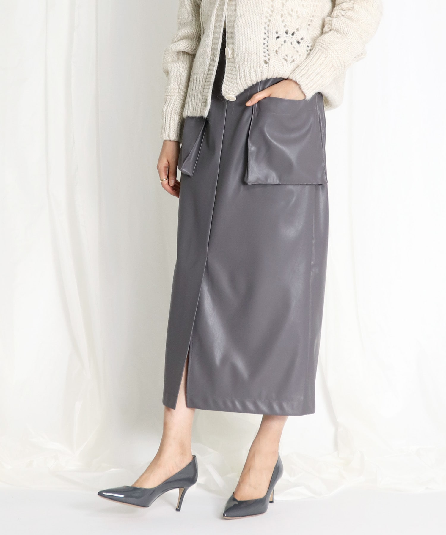 <Sugar Rose>eco leather pencil skirt