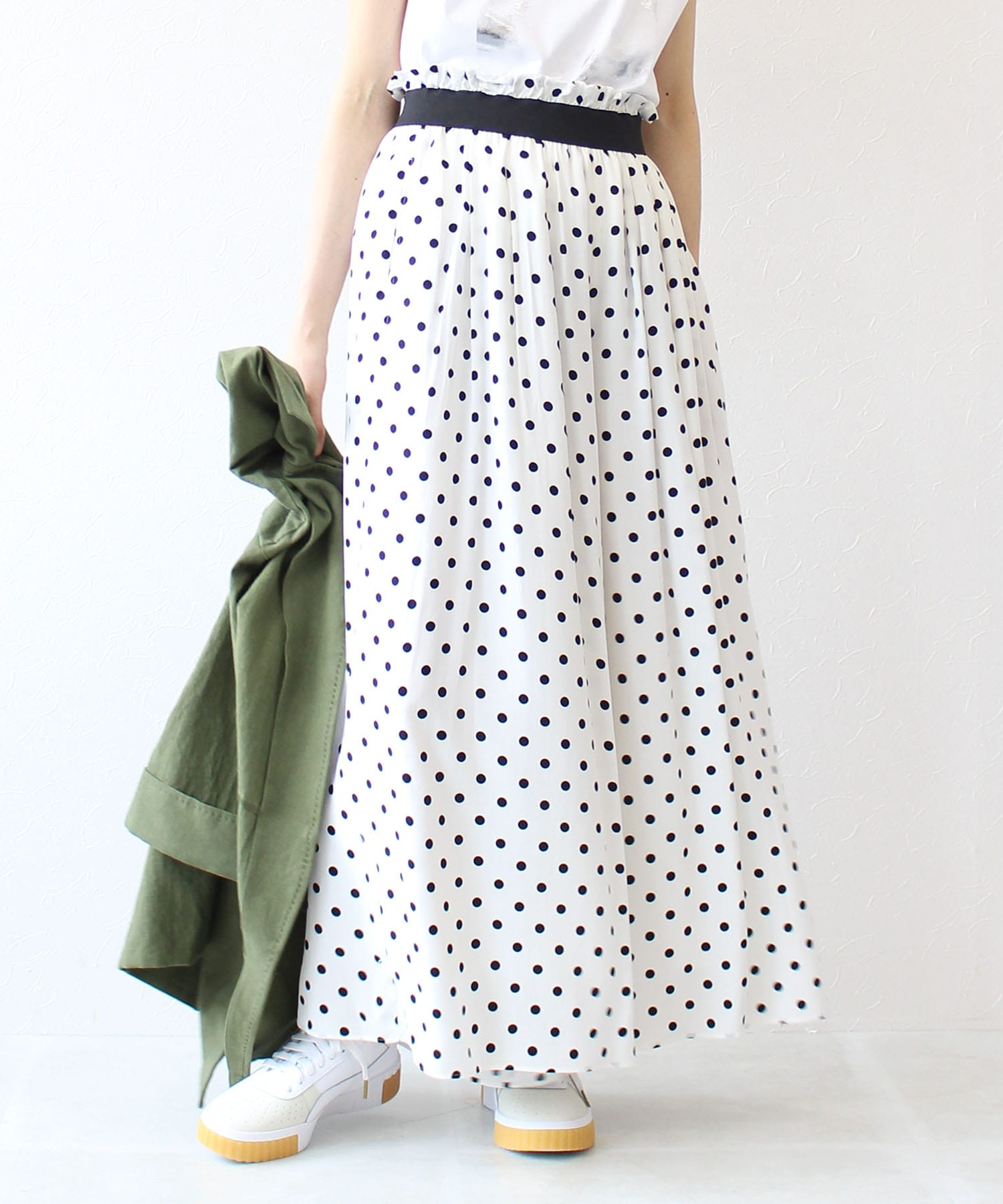 dot flare wide pants