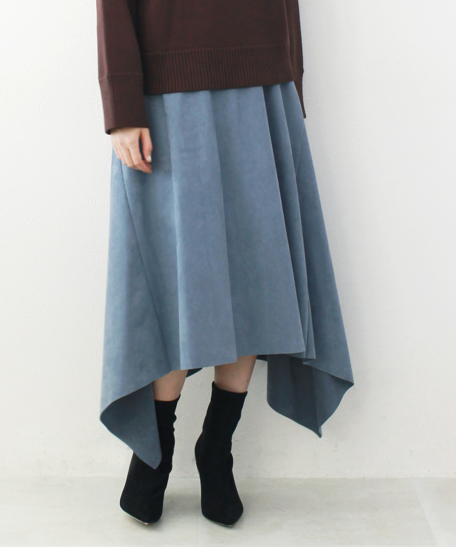 artificial lether asymmetric skirt