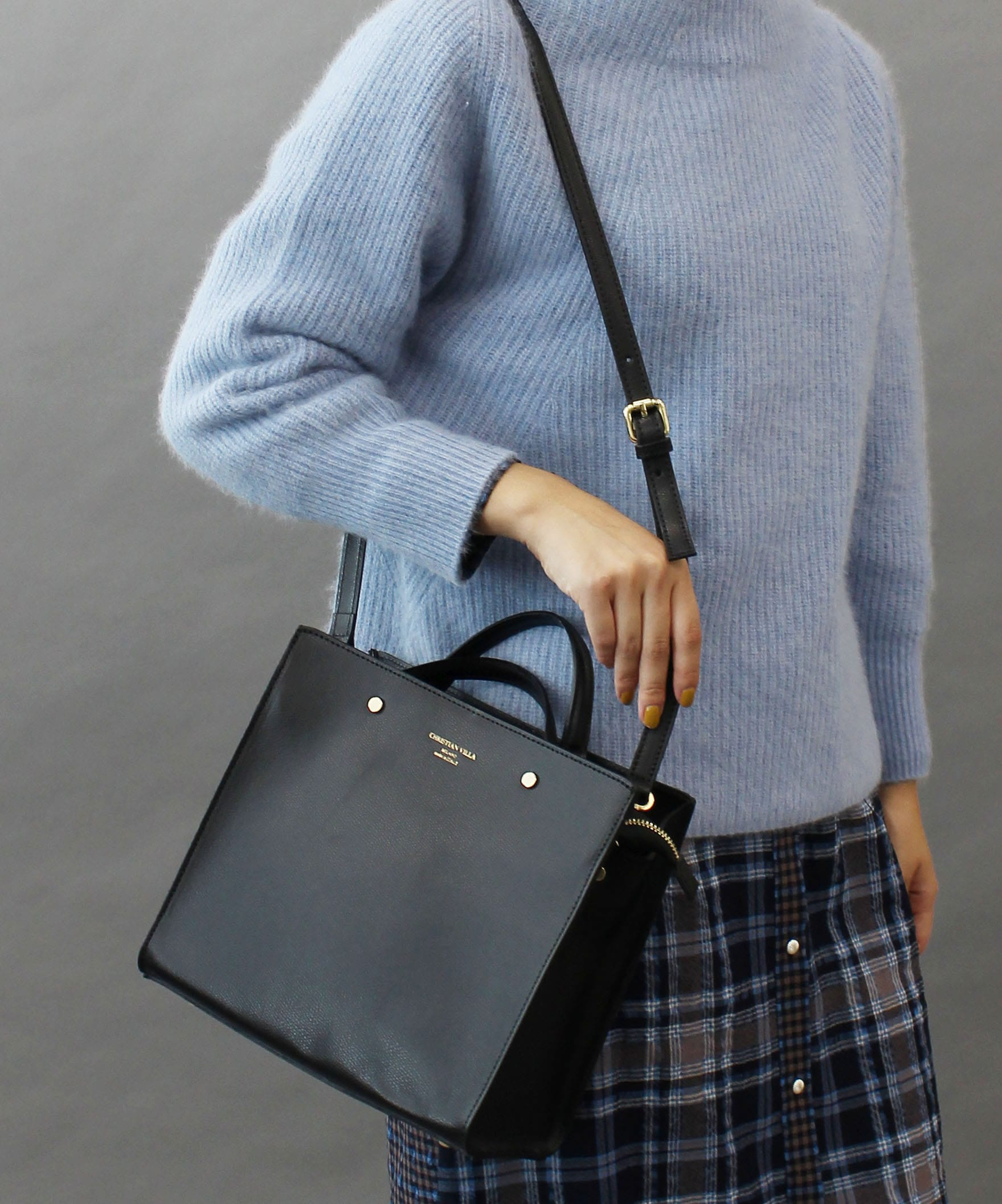 【 CHRISTIAN VILLA / クリスチャン ヴィラ 】Calf Leather with Lining fabric SQ bag1