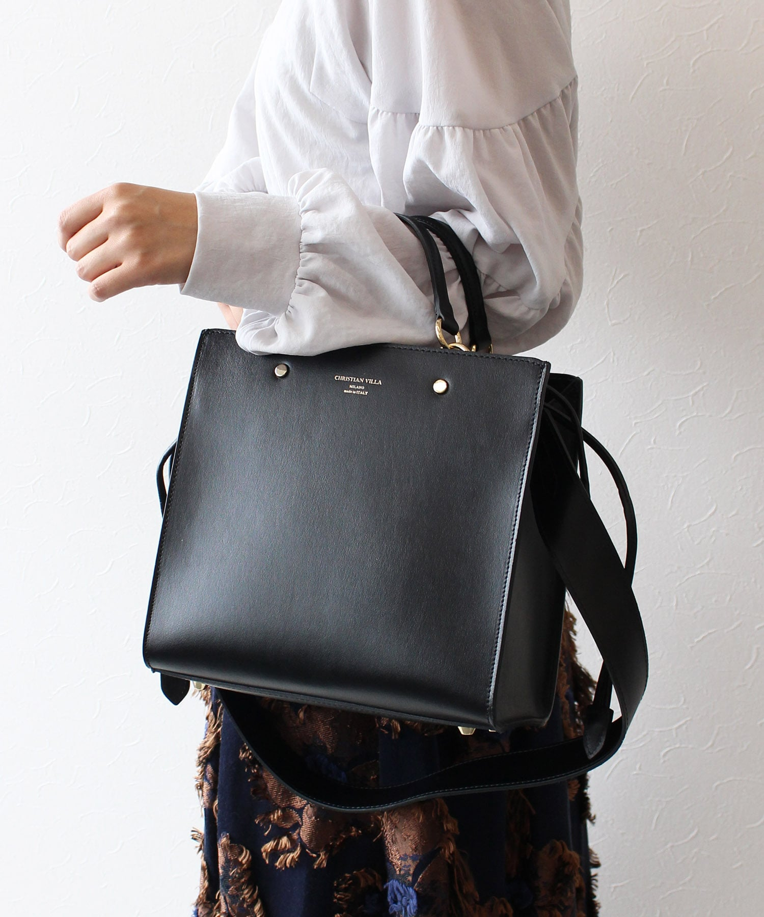 【 CHRISTIAN VILLA / クリスチャン ヴィラ 】★Calf Leather with Pouch  SQ Bag2