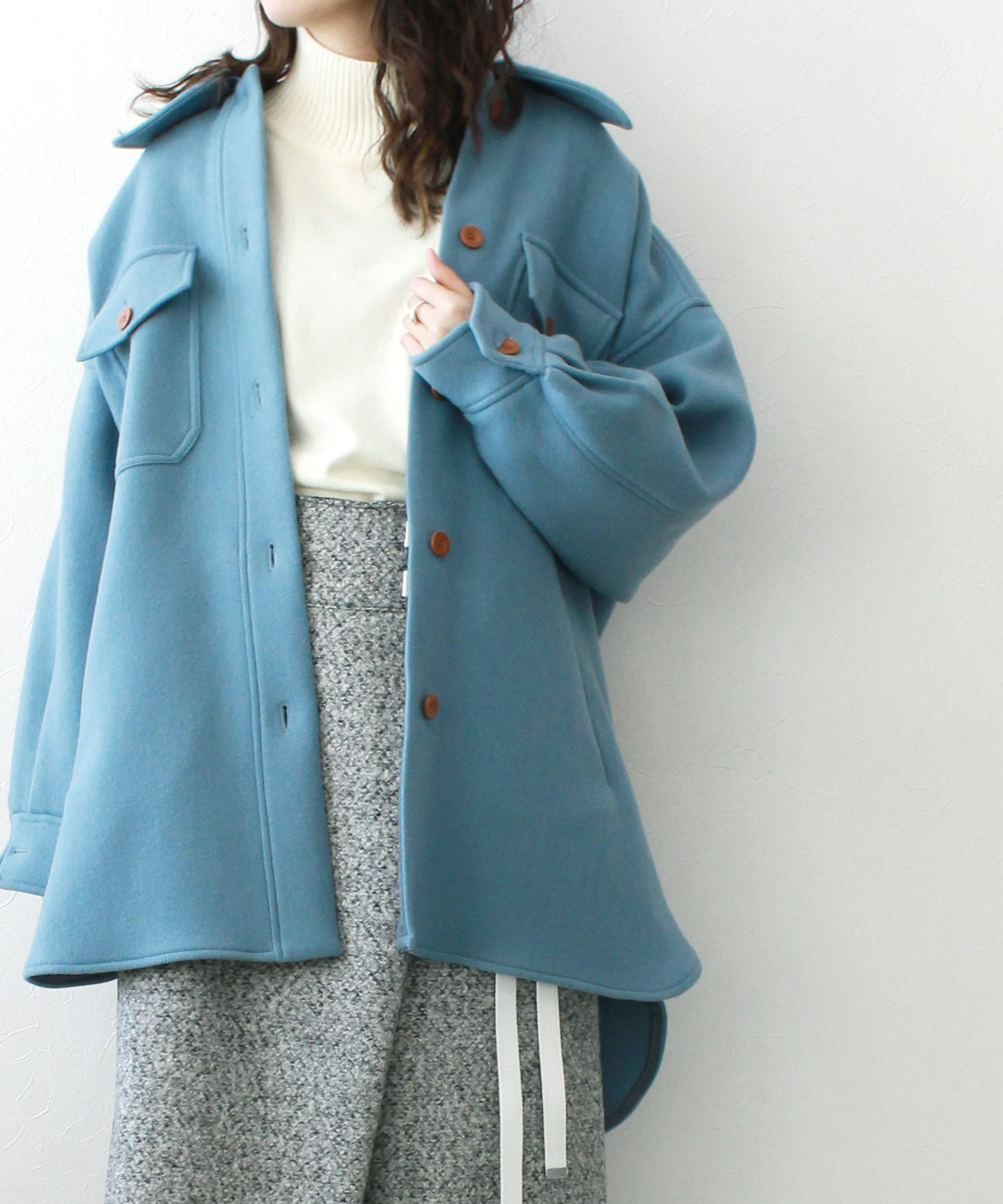 <TESSA>volume shirt style jacket