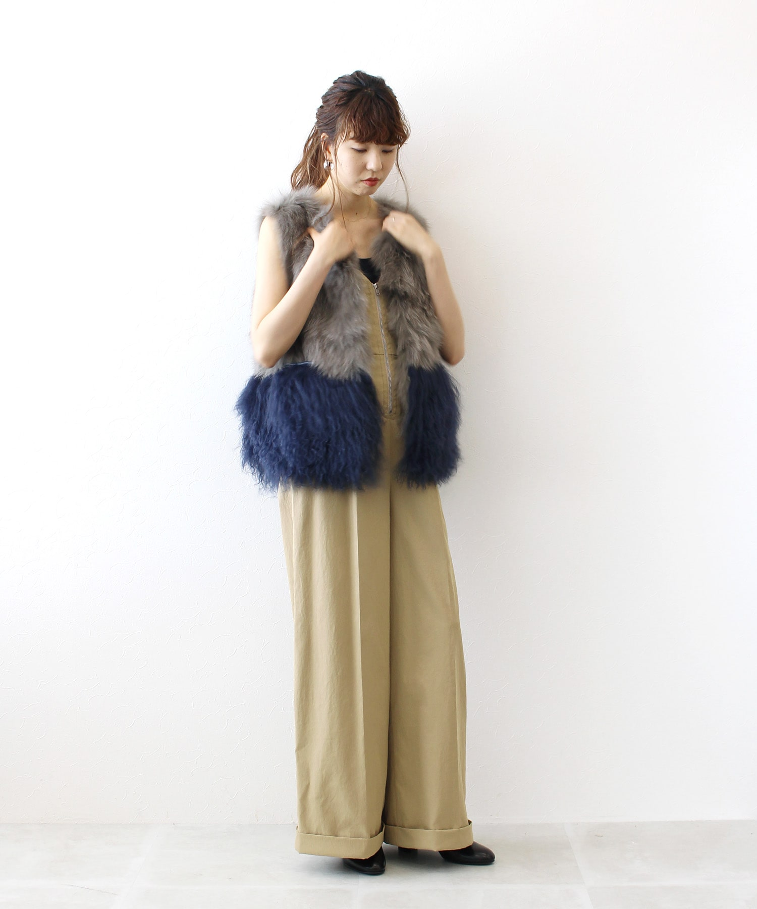 <Sugar Rose>fox×lamb color block fur vest