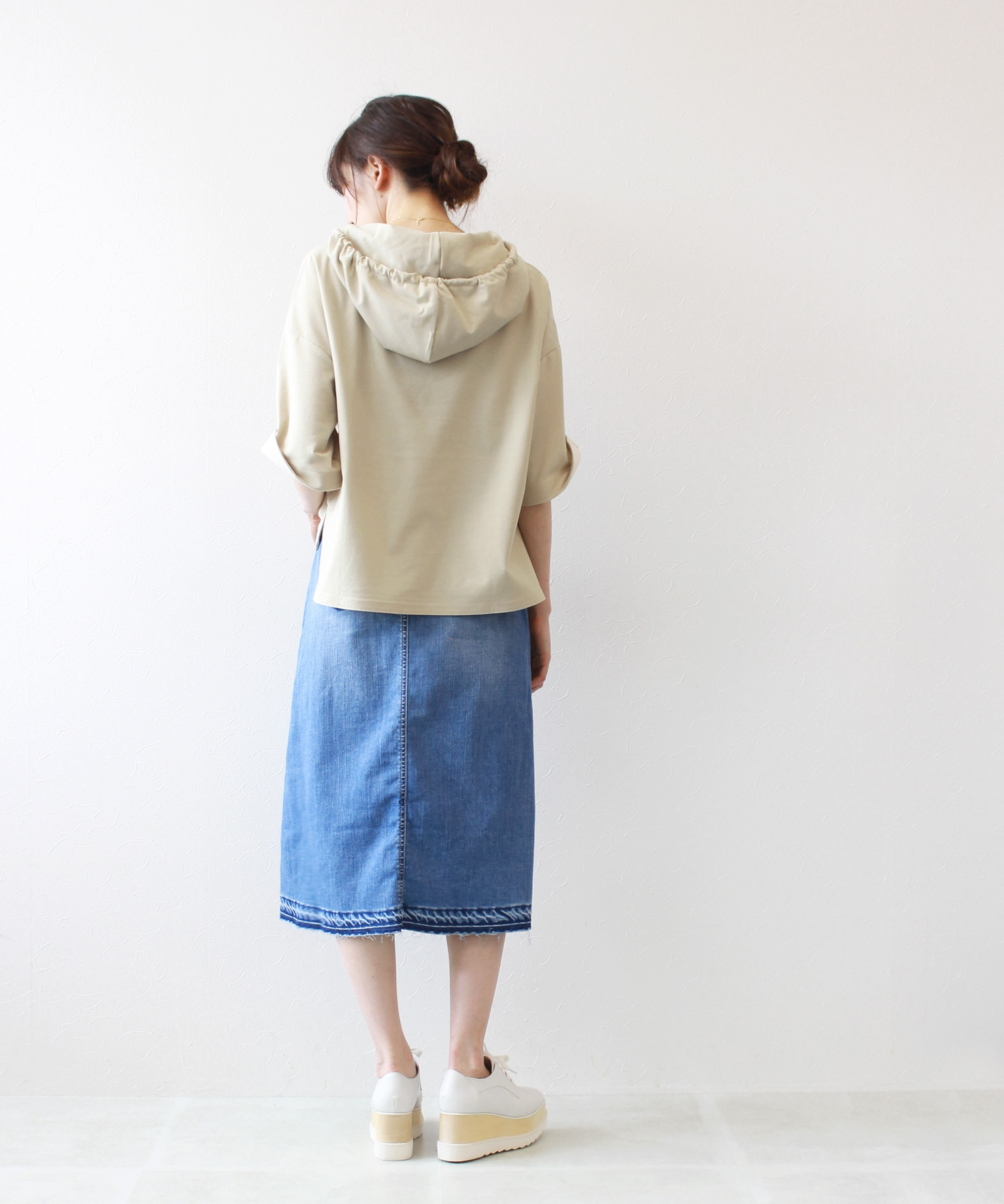 <YANUK>light denim a-line skirt