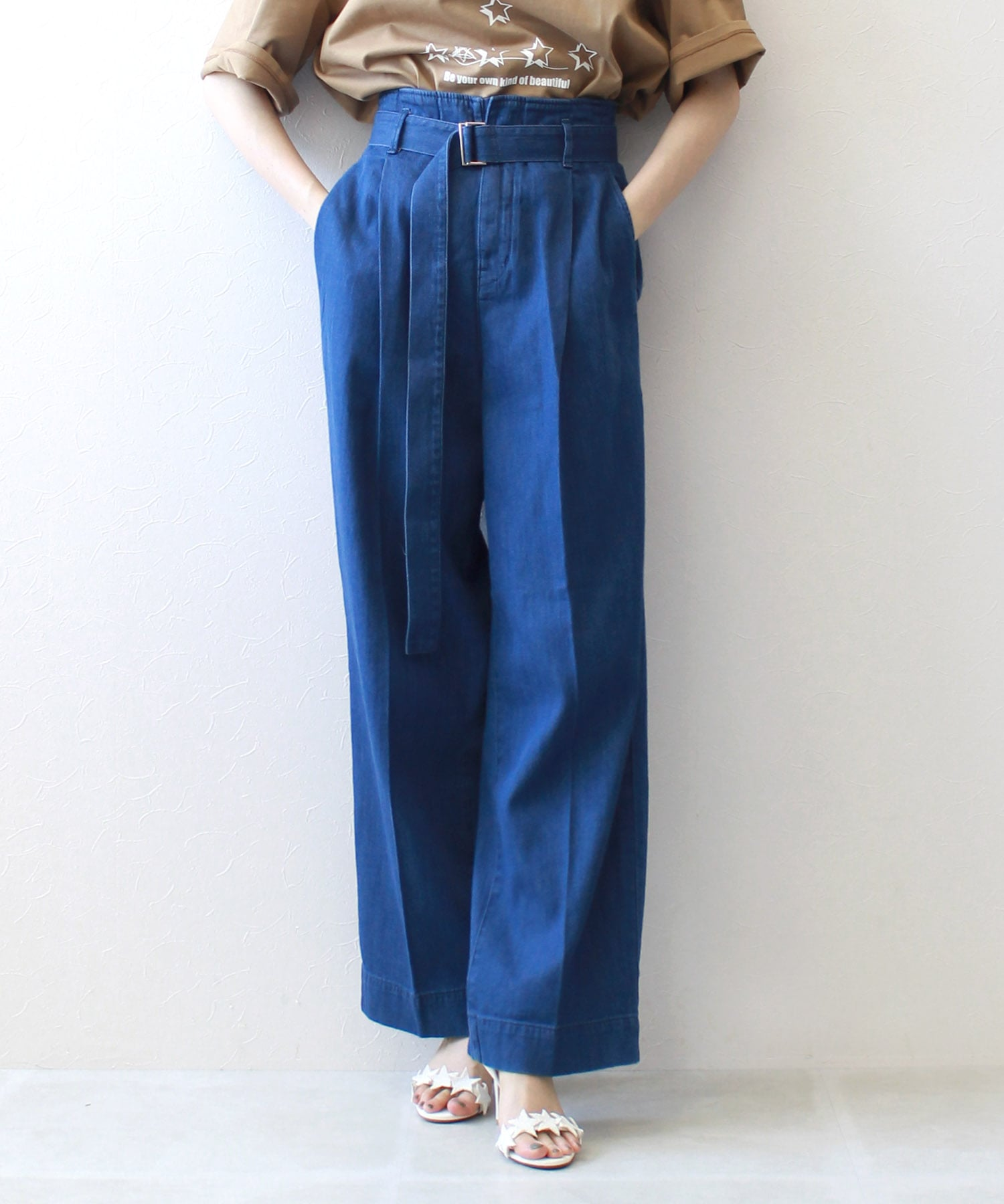 <YANUK>linen mixed wide straight pants