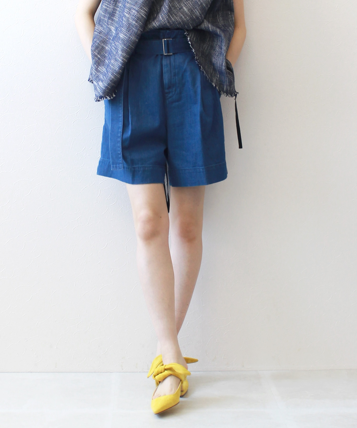 <YANUK>linen mixed short pants