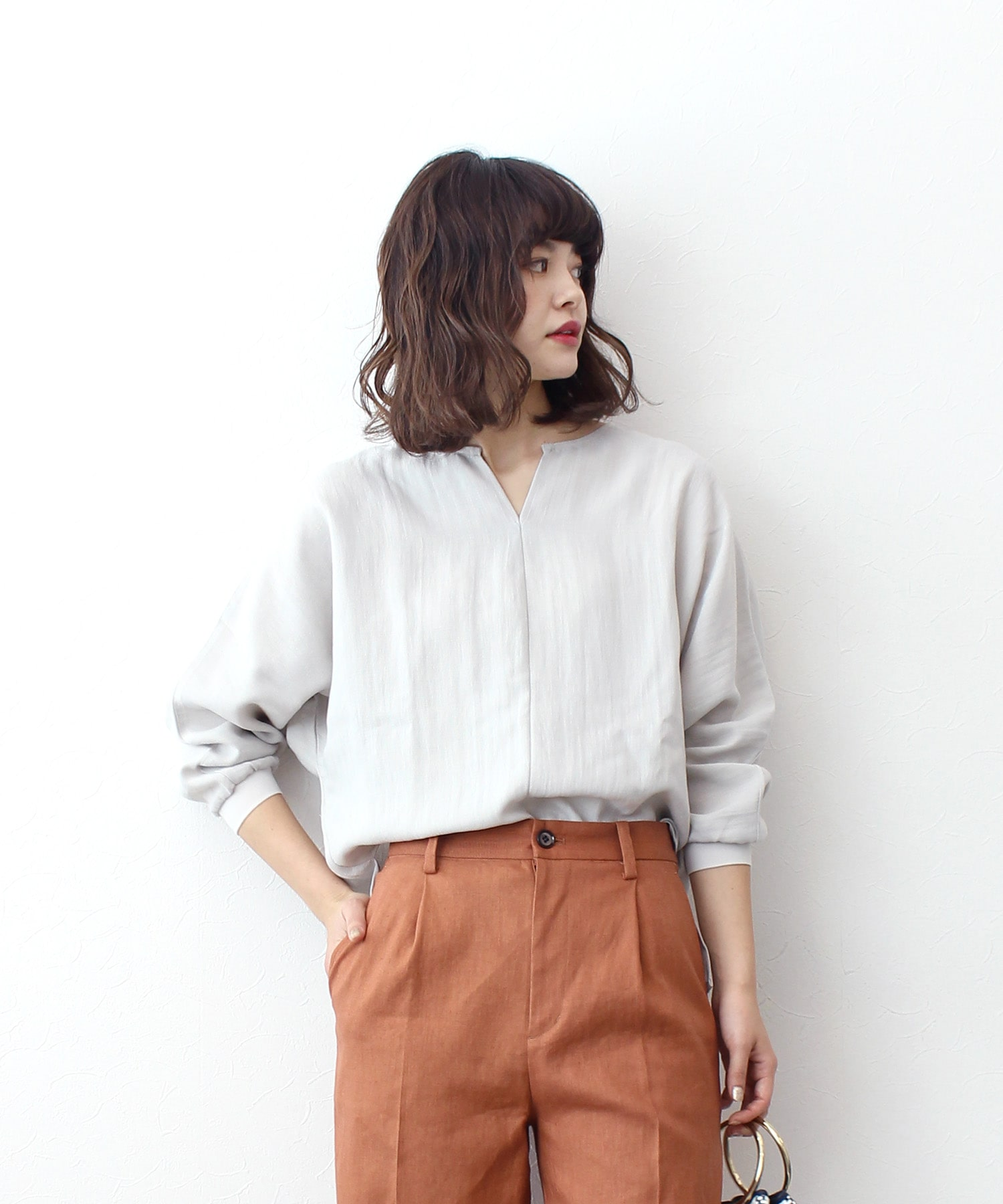 <Sugar Rose>open front neck blouse