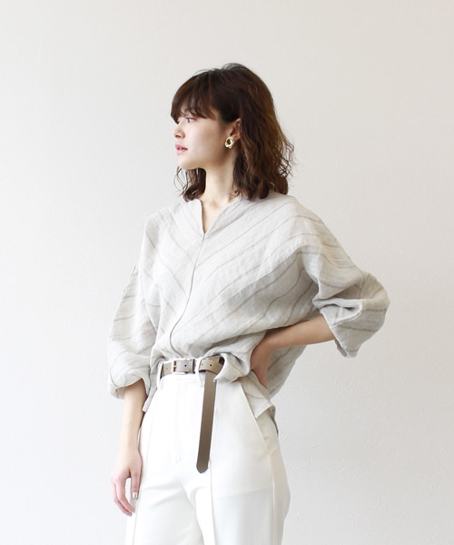 <Sugar Rose>open flont neck linen blouse