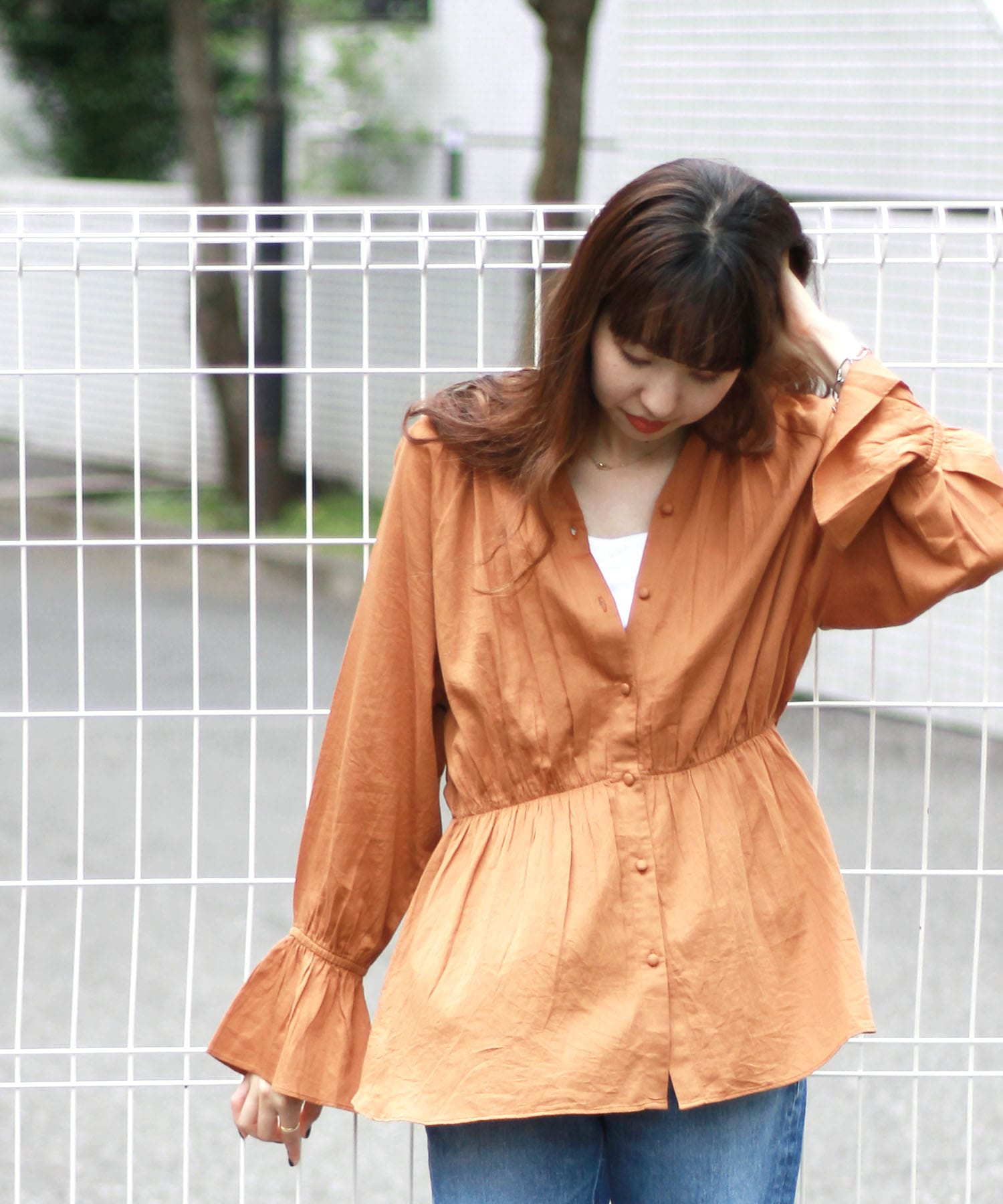 <Sugar Rose>waist shirring blouse