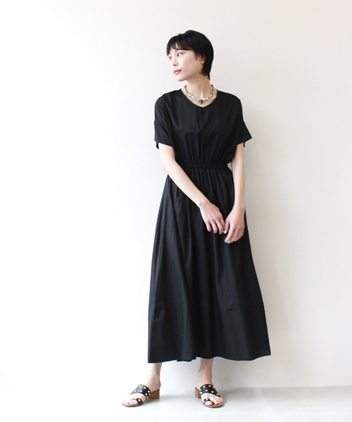 <Sugar Rose>waist shirring flare dress