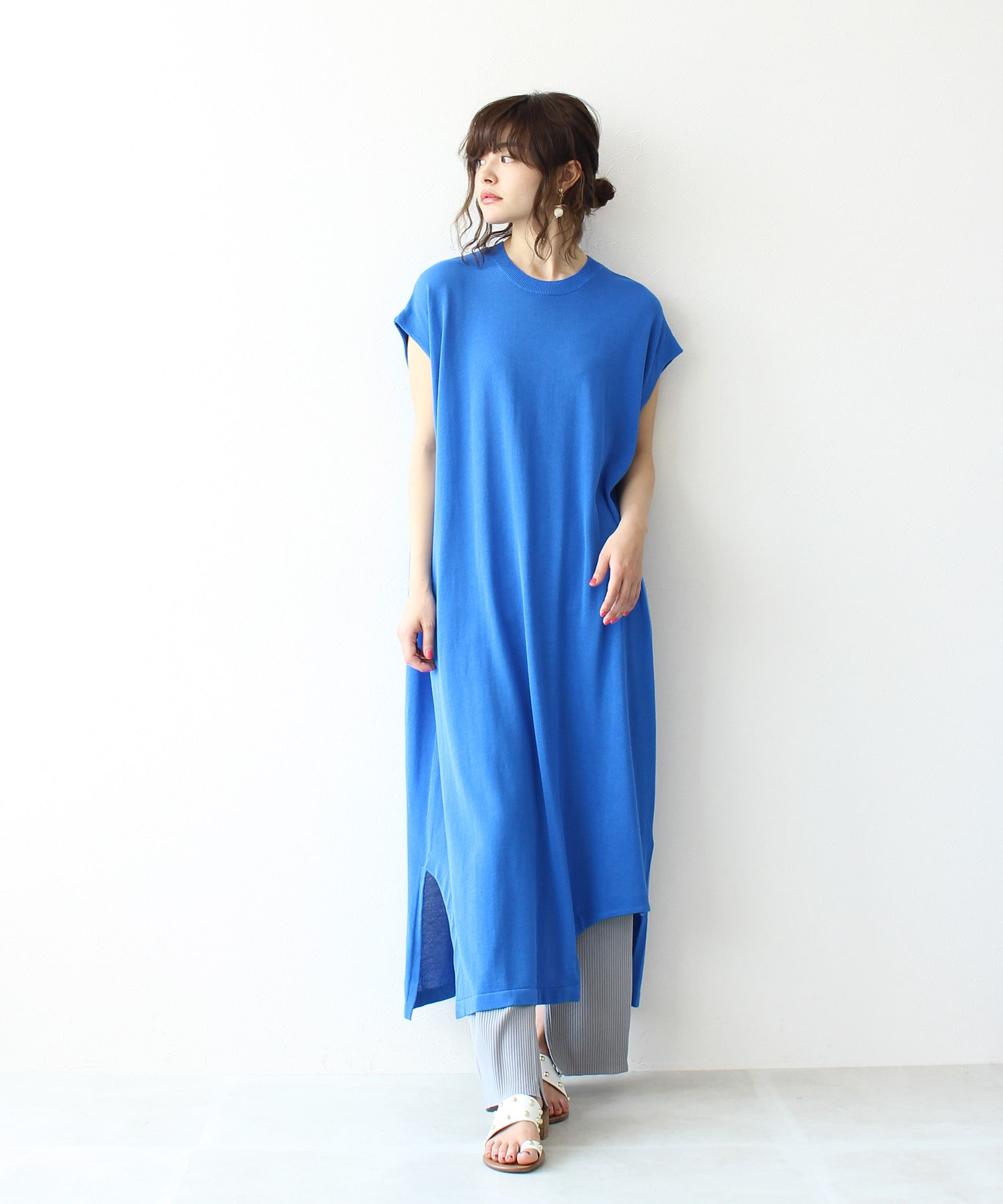 <Sugar Rose>asymmetry knit over dress