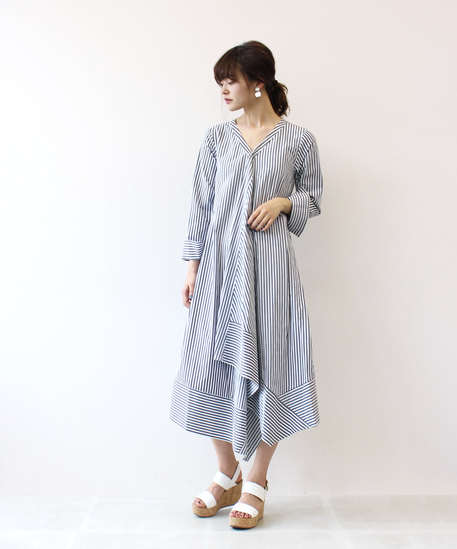<Sugar Rose>stripe asymmetry oversize shirt dress