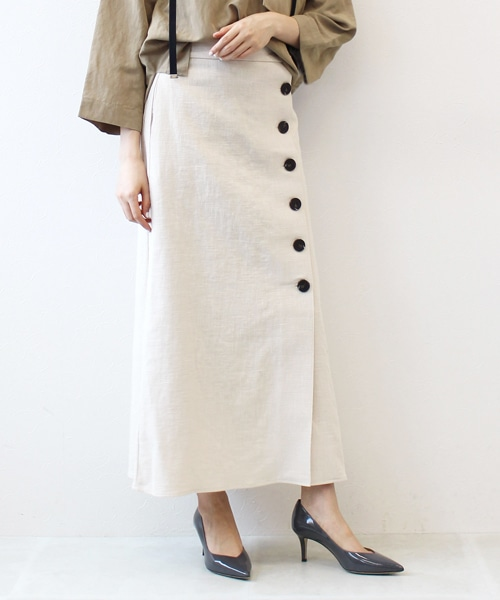 <Sugar Rose>linen button accent skirt