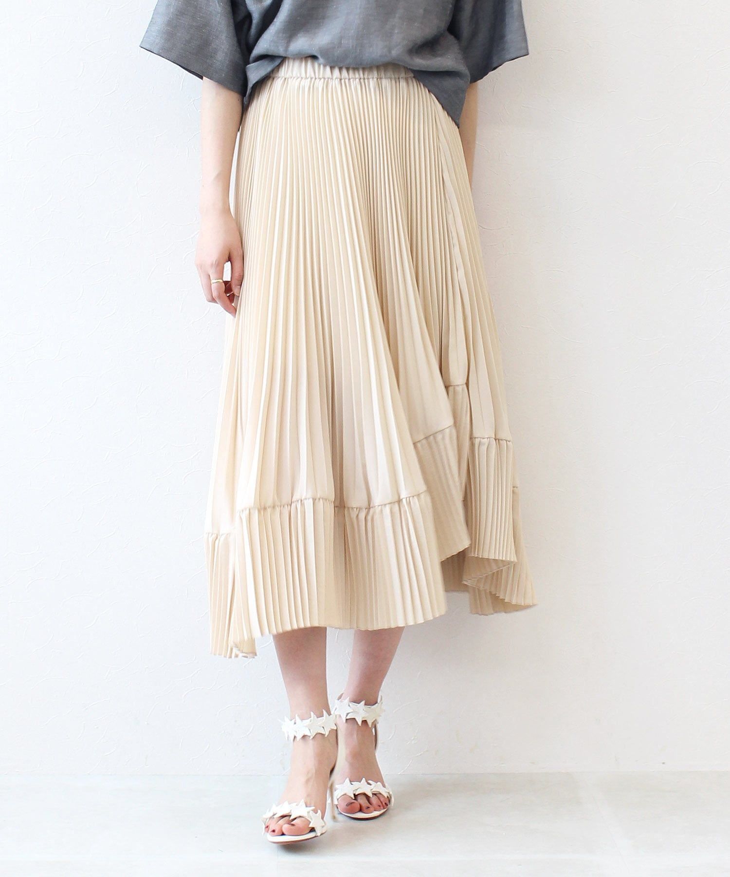 <Sugar Rose>randam pleats skirt
