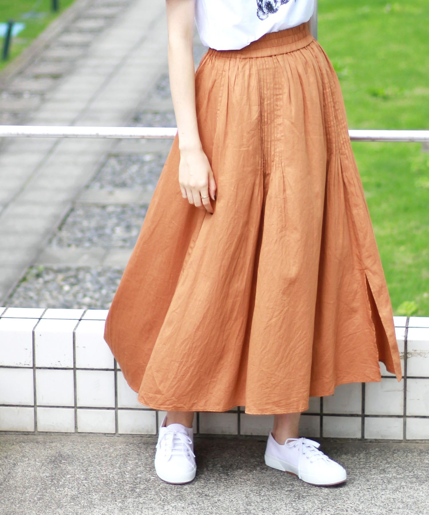 <Sugar Rose>pin tuck design skirt