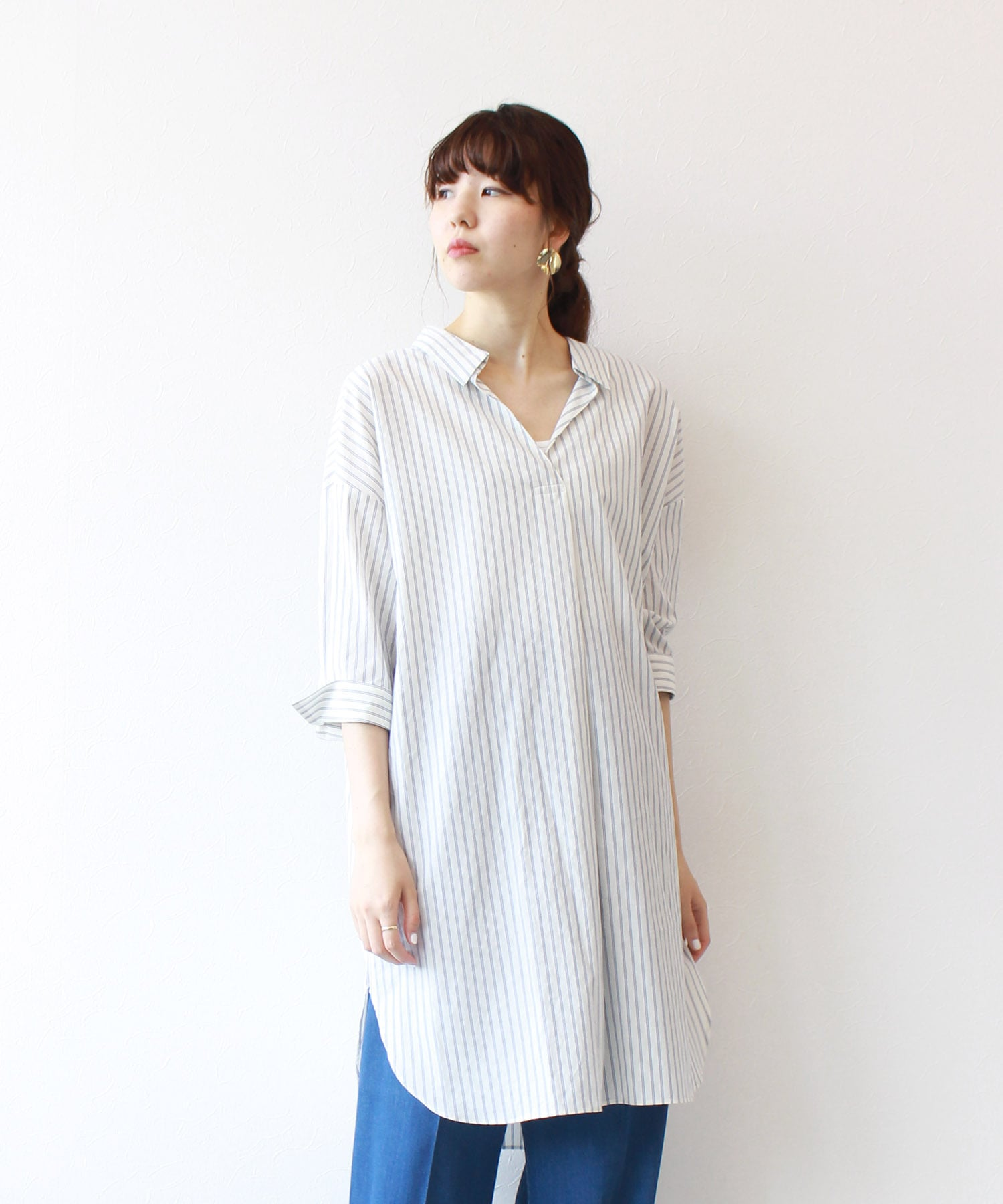 <B7>back ribbon stripe long shirt
