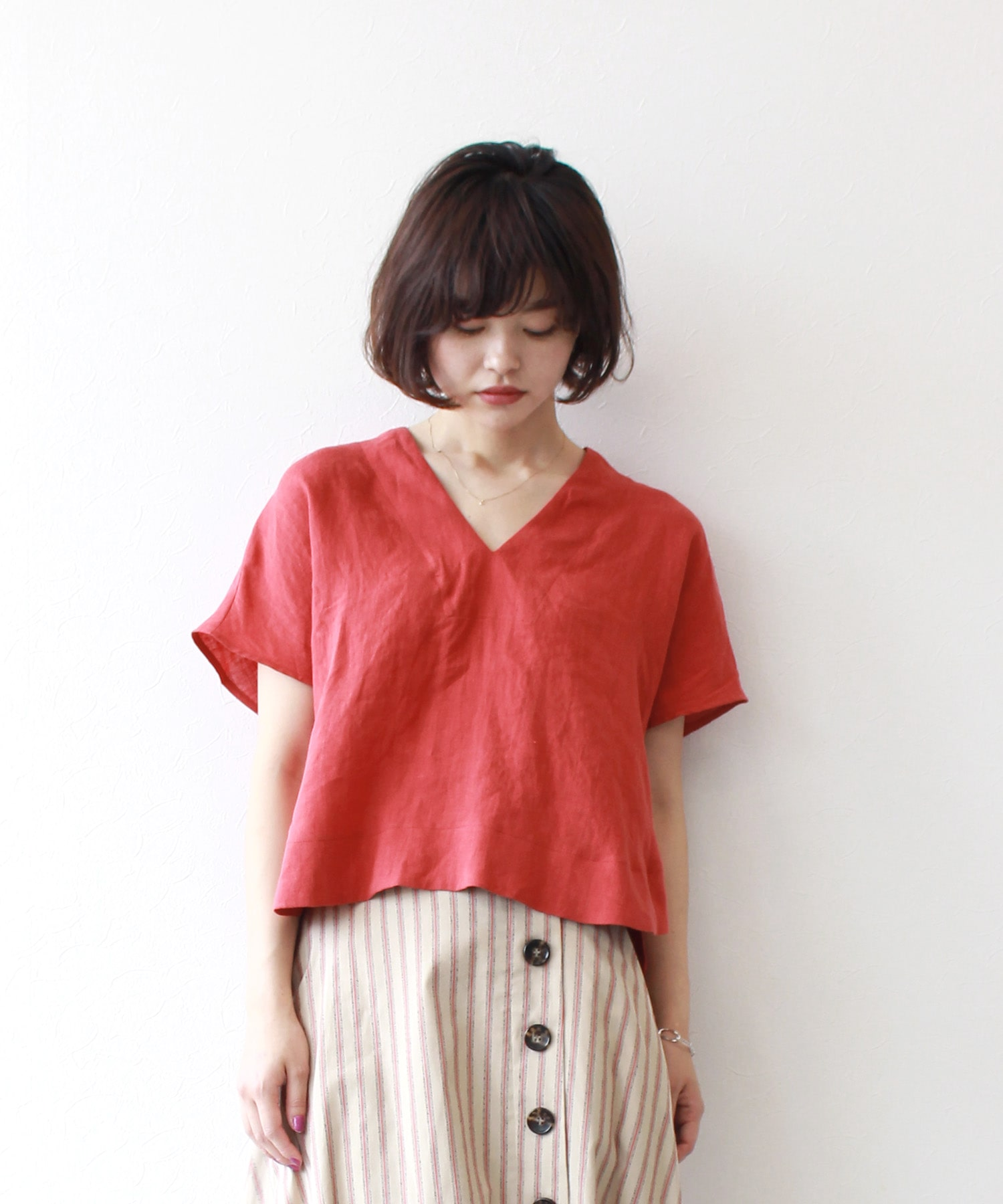 <B7>canvas linen washer blouse