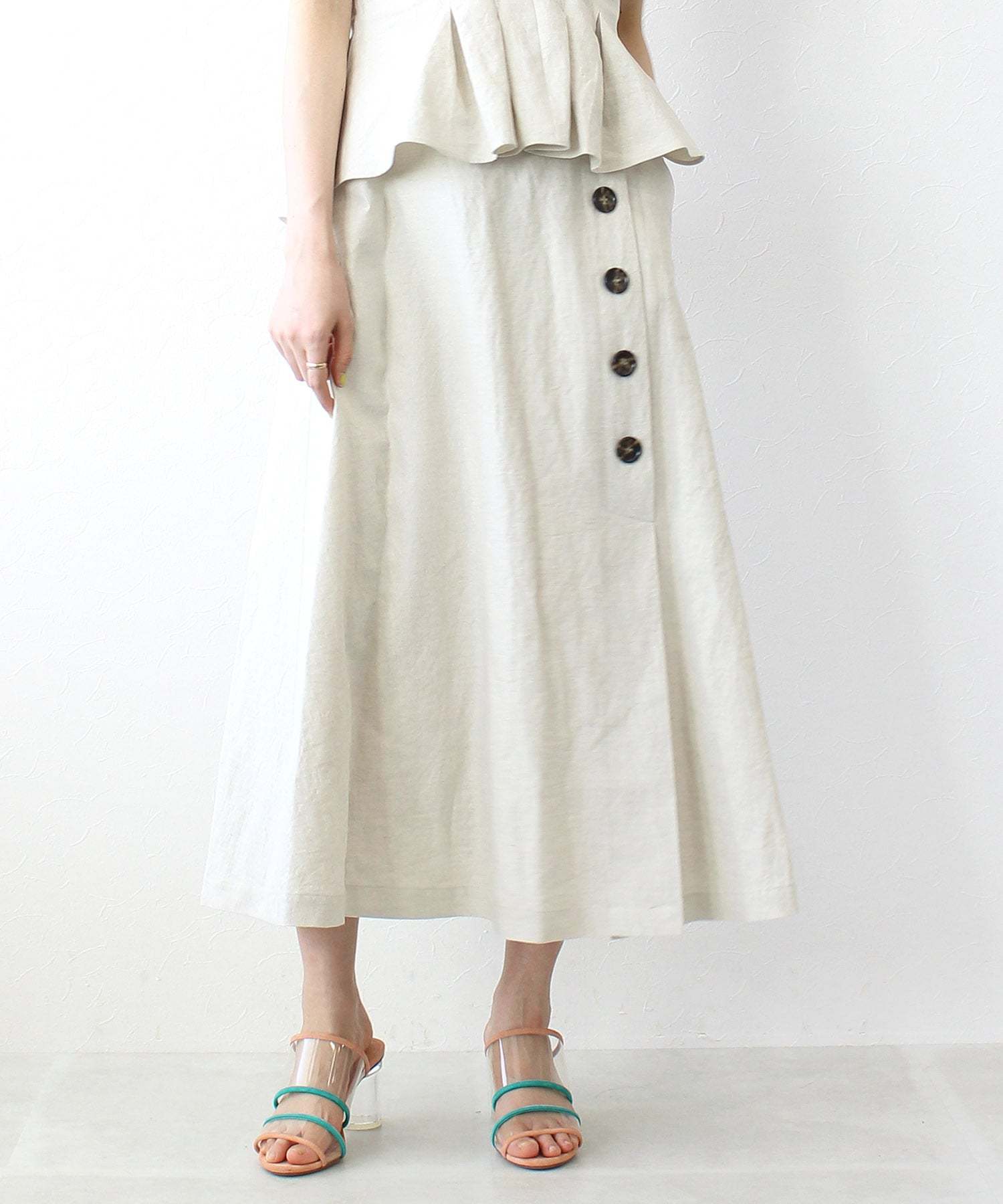 <B7>cotton linen button skirt
