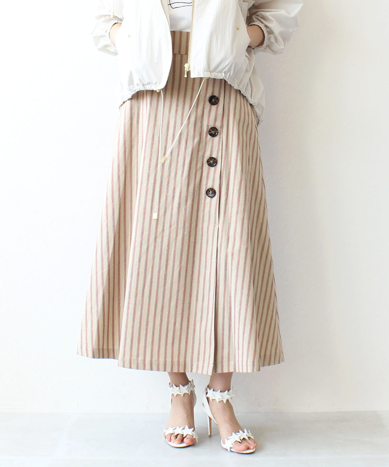 <B7>circus stripe skirt