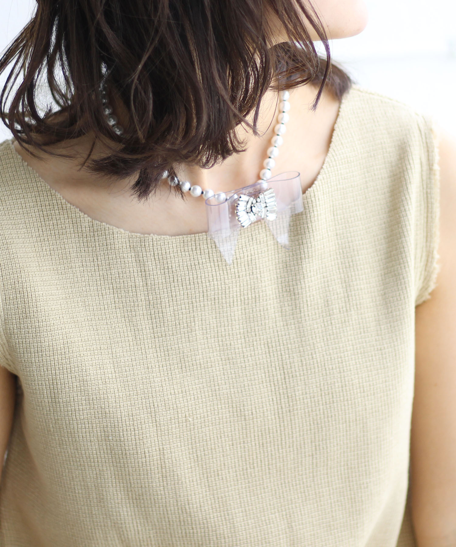 <RADA>Clear ribbon×glasspearl necklace