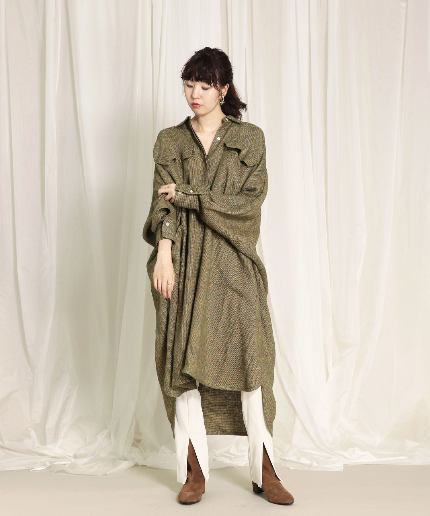 <Hart>linen oversaized long blouse