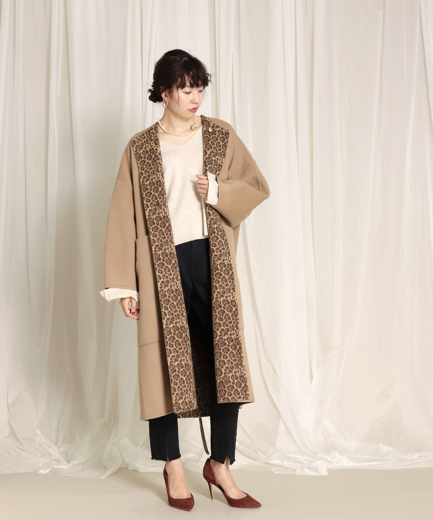 <Hart>reversible leopard coat