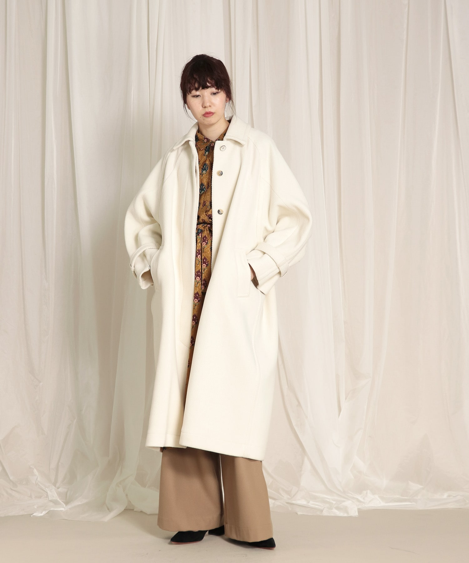 <Hart>soutien collar long coat