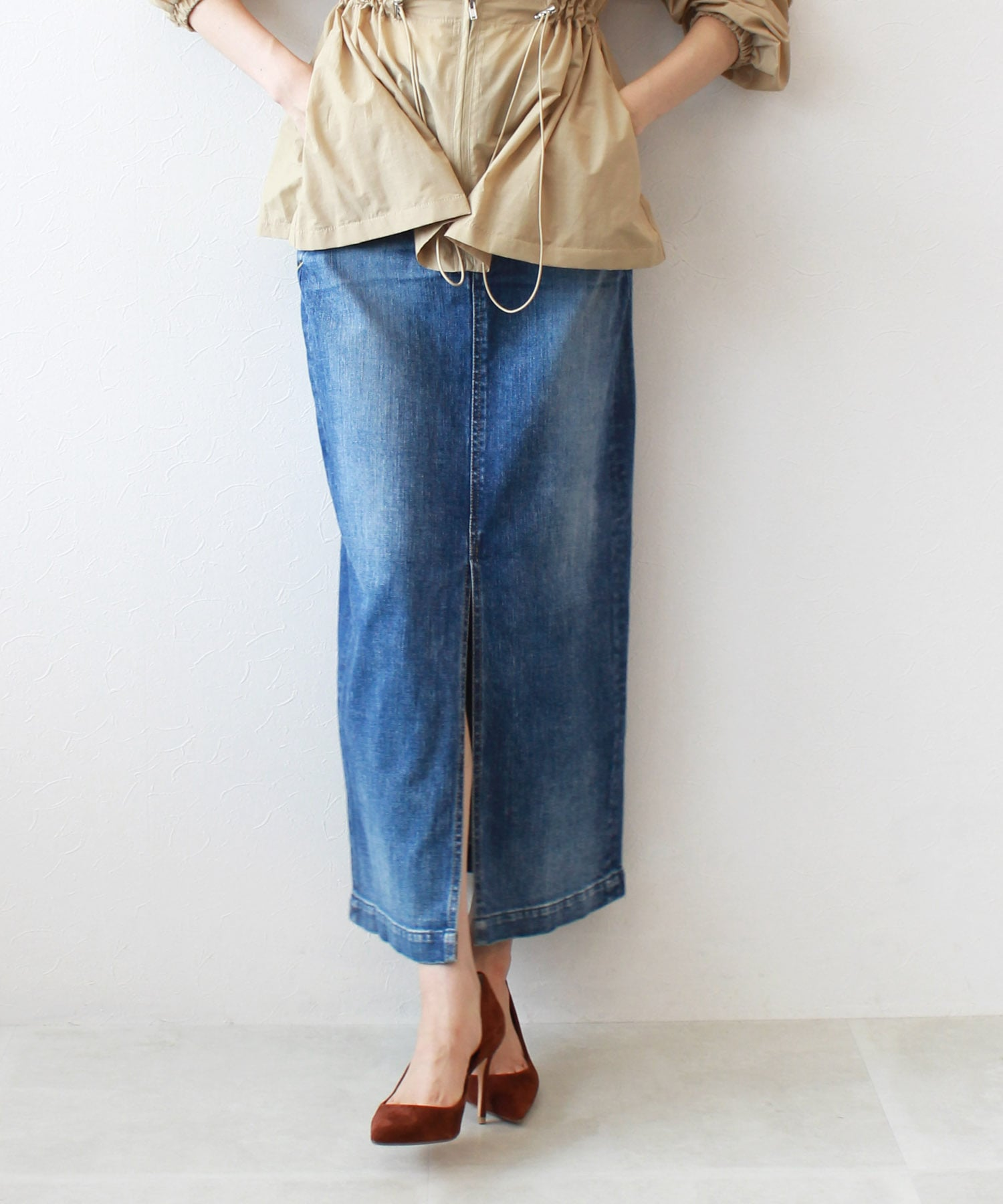 <YANUK>slit long skirt