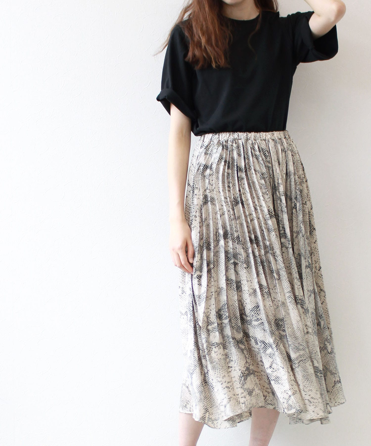 <Sugar Rose>snake pattern pleats skirt