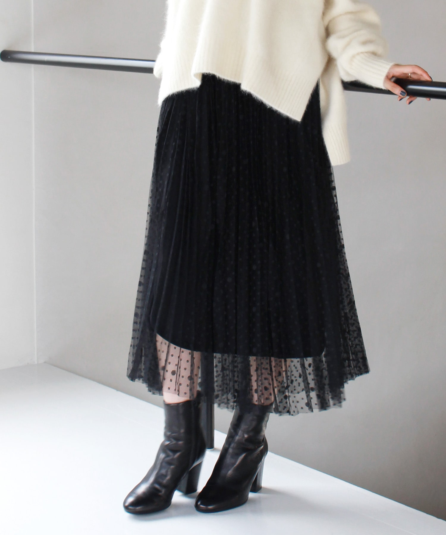 <Sugar Rose>reversible dot tulle pleats skirt