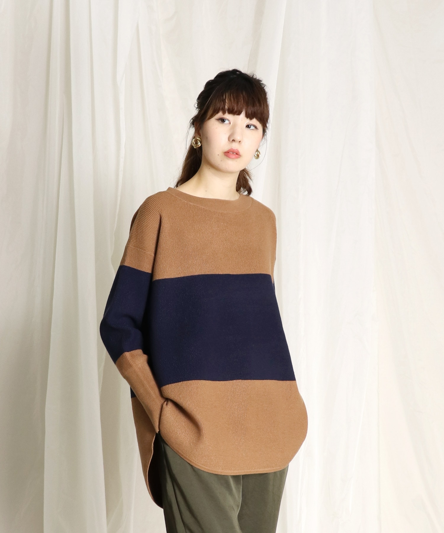 <Sugar Rose>thermal over size boatneck