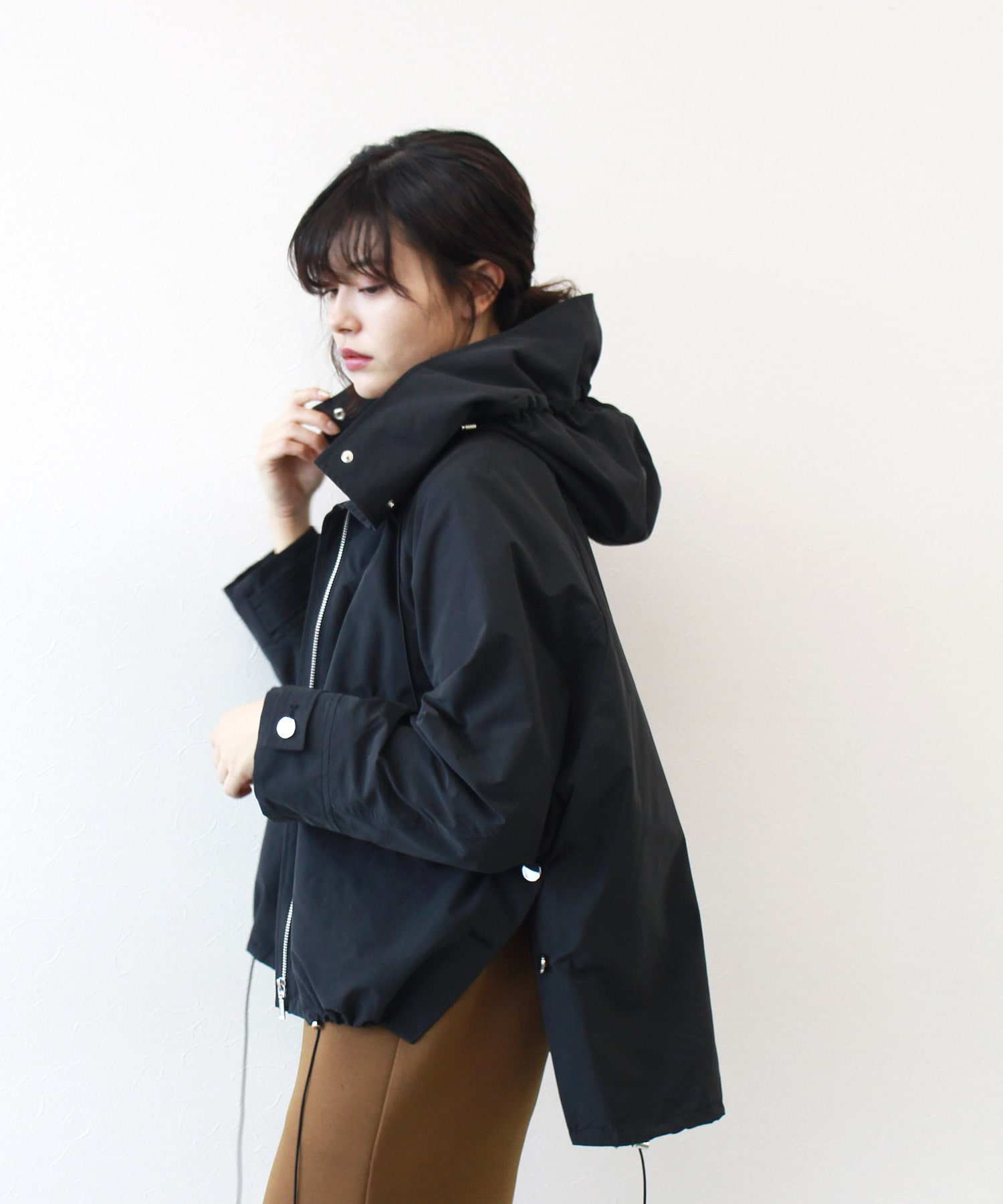 <B7>hooded military over blouson