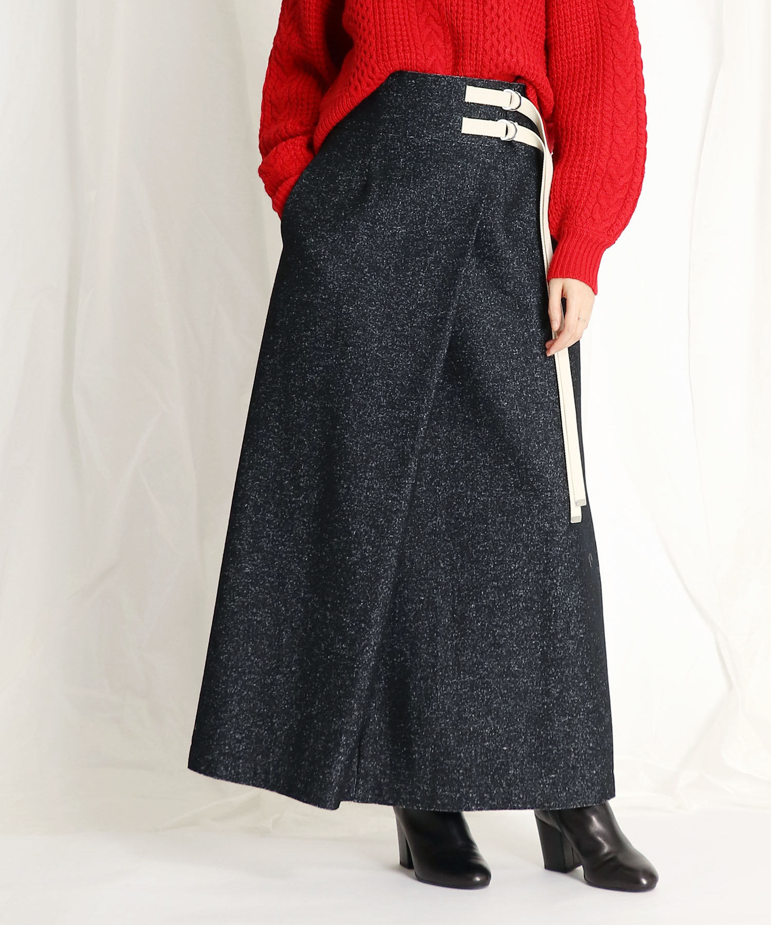 <B7 >tweed long high waist skirt