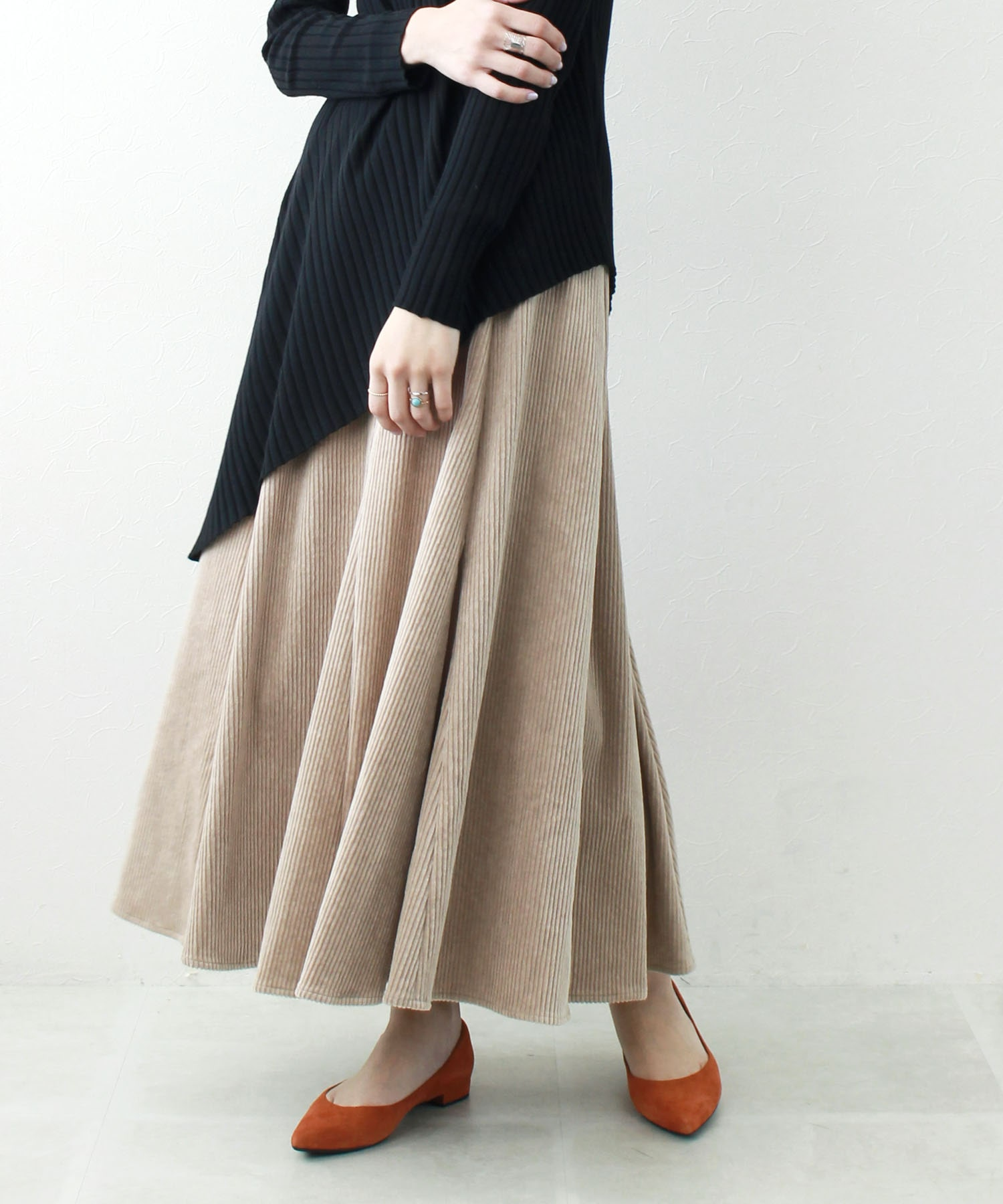 <B7>corduroy long flare skirt