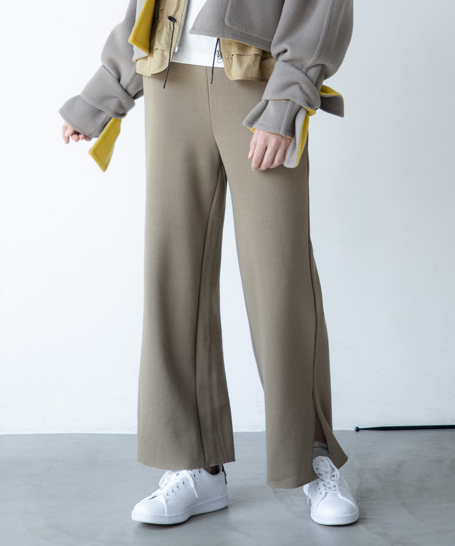 <B7>rib double face pants