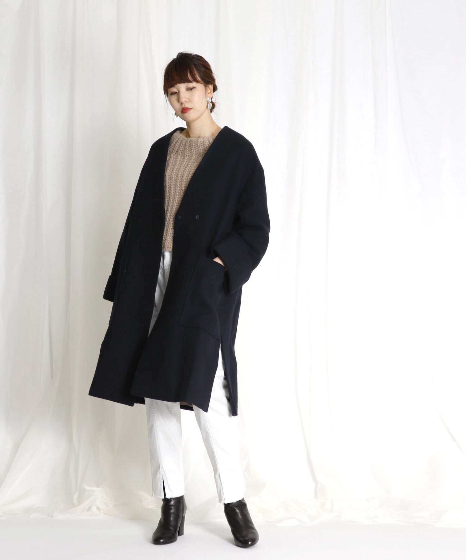 <B7>wool no collar coat