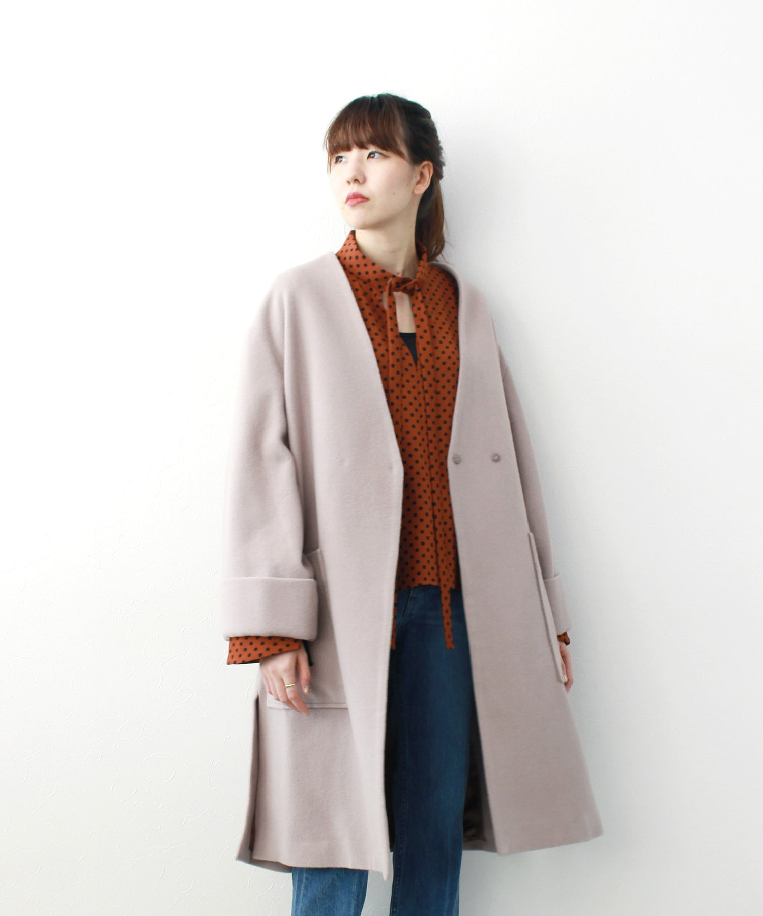 【WEB限定】<B7>wool no collar coat