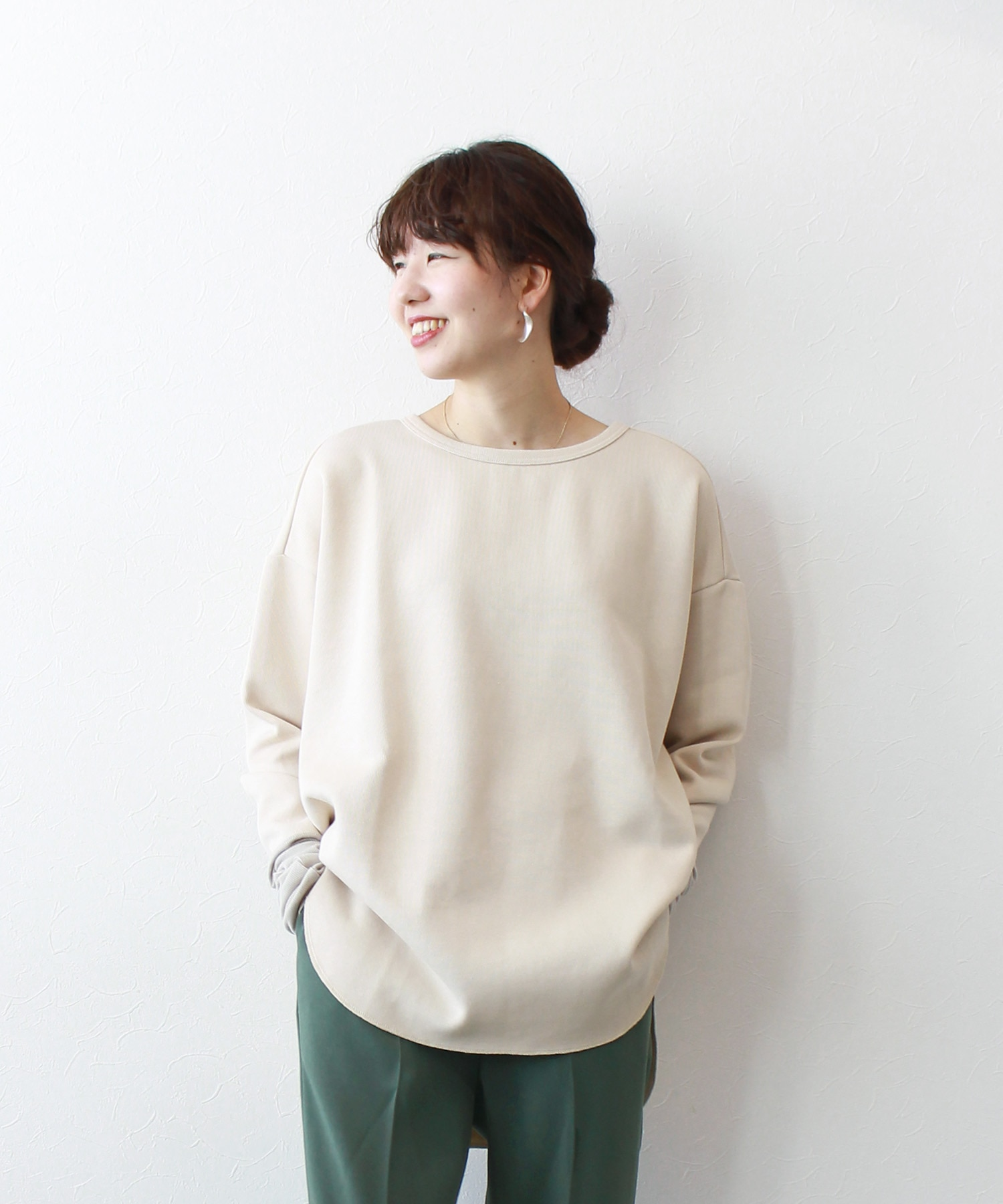 <B7>rib double face pullover