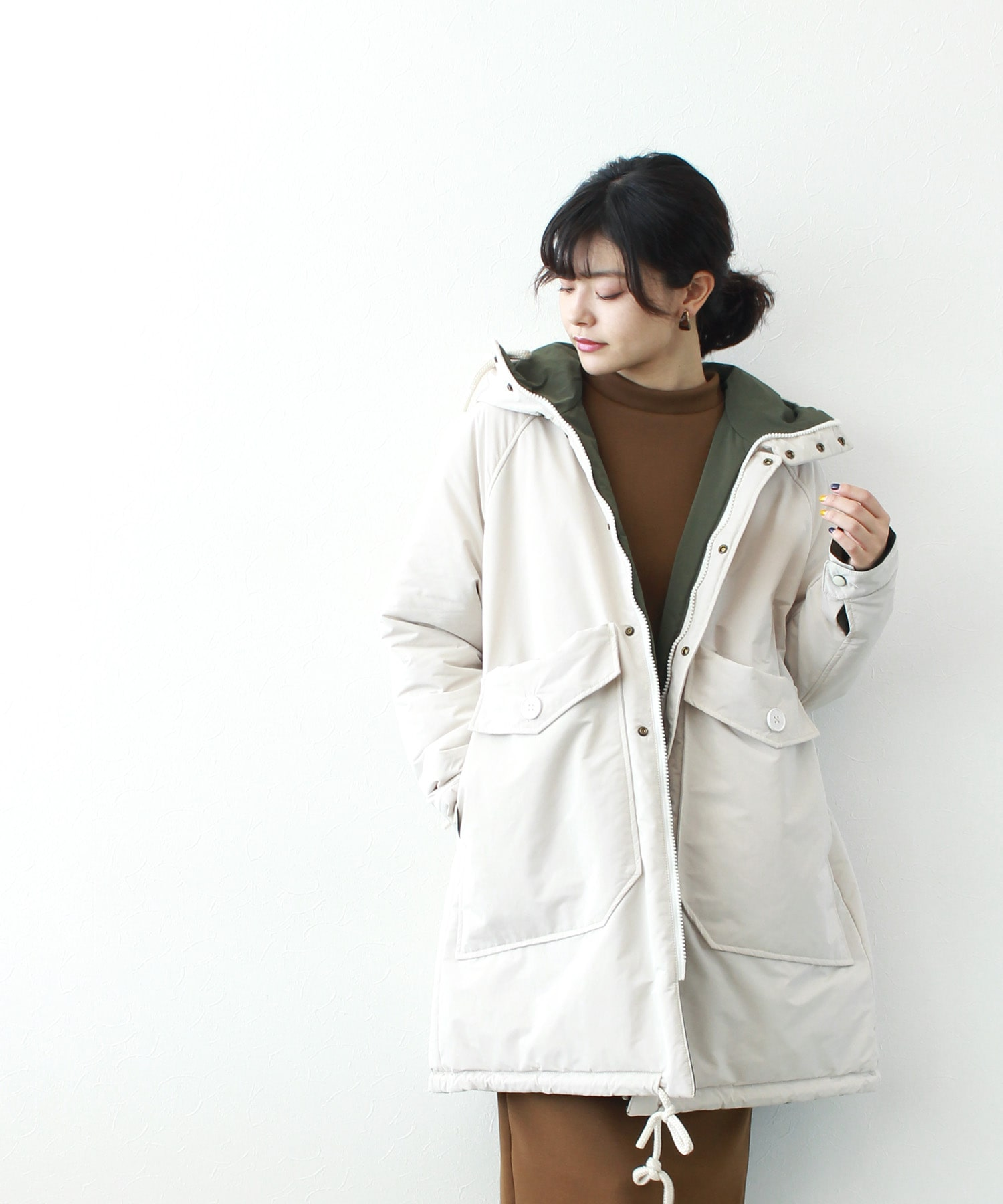 <OOF>reversible batting hooded coat