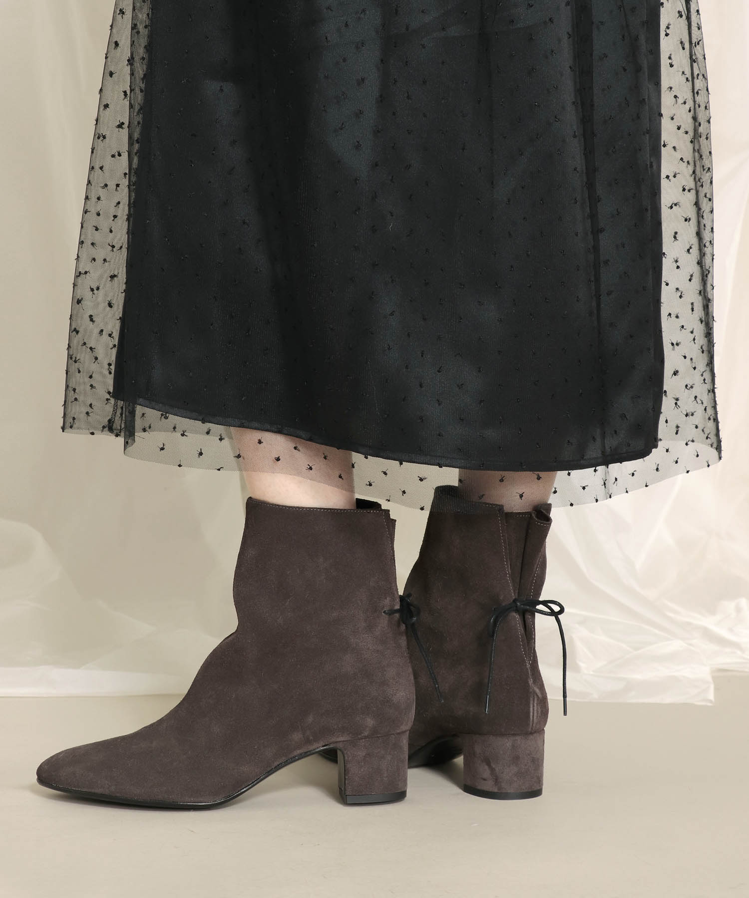 <FABIO RUSCONI>back ribbon short boots