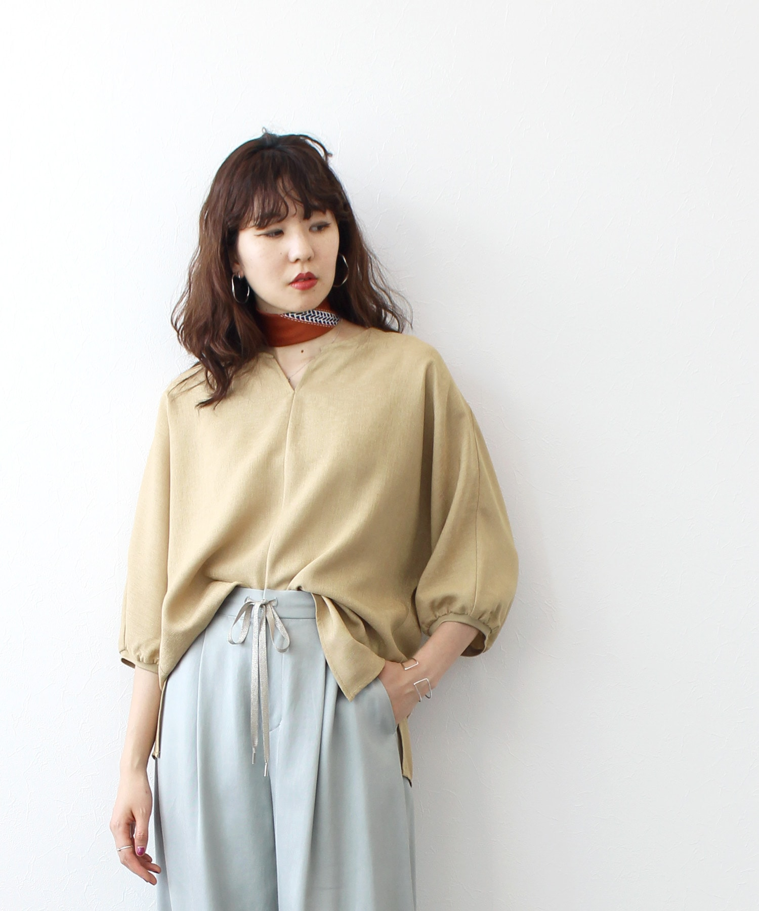 <Sugar Rose>skipper collar blouse