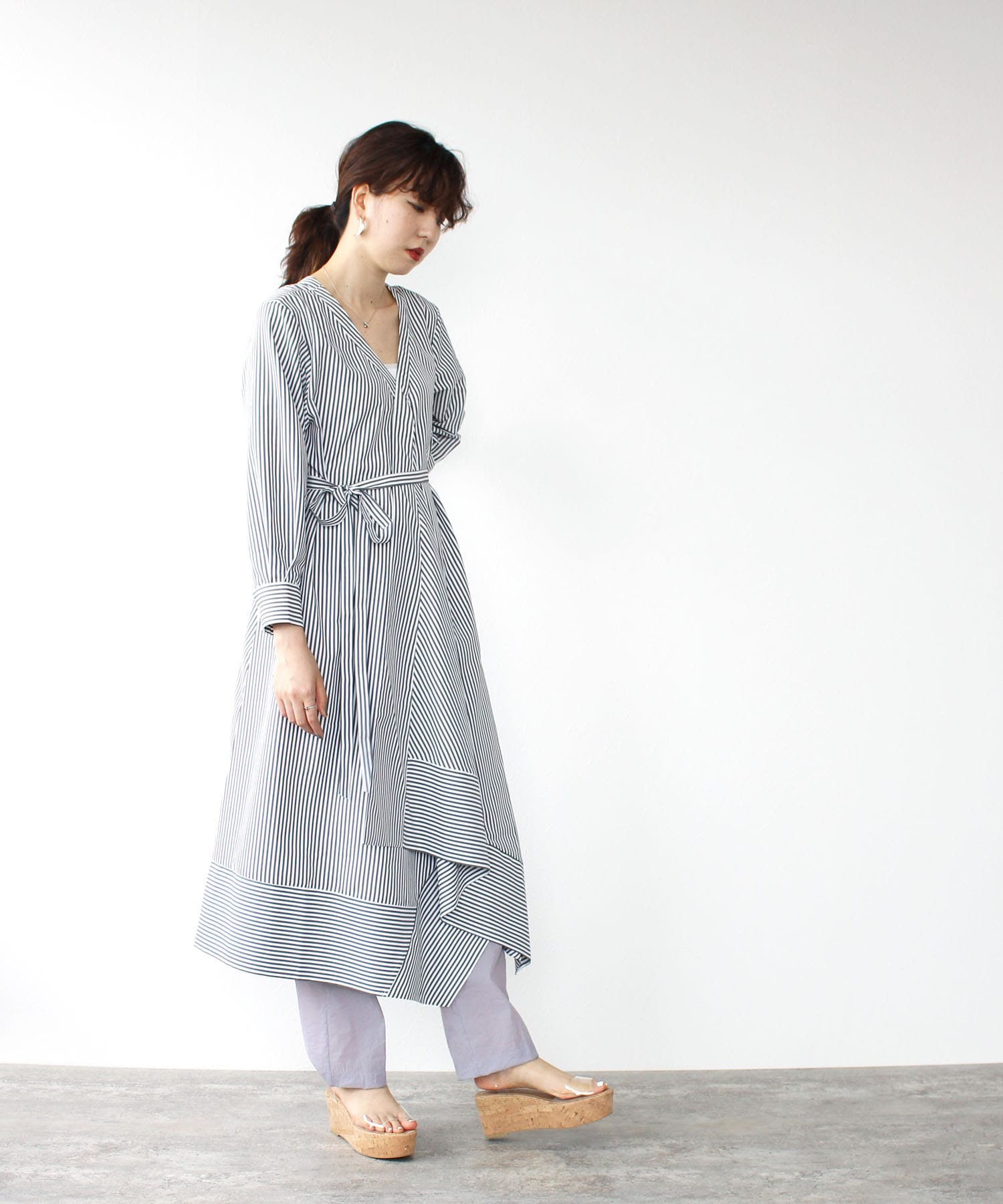 <Sugar Rose>stripe 2way shirt dress