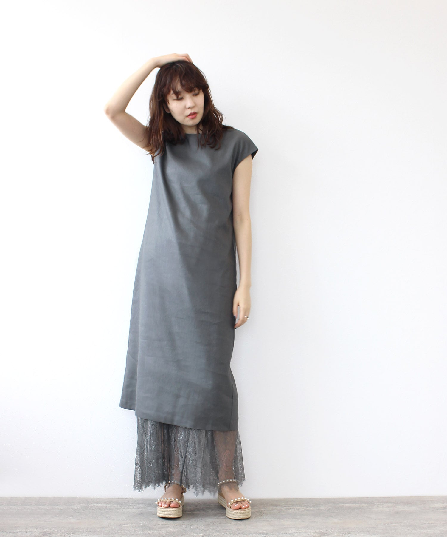 <Sugar Rose>linen dress×tull skirt