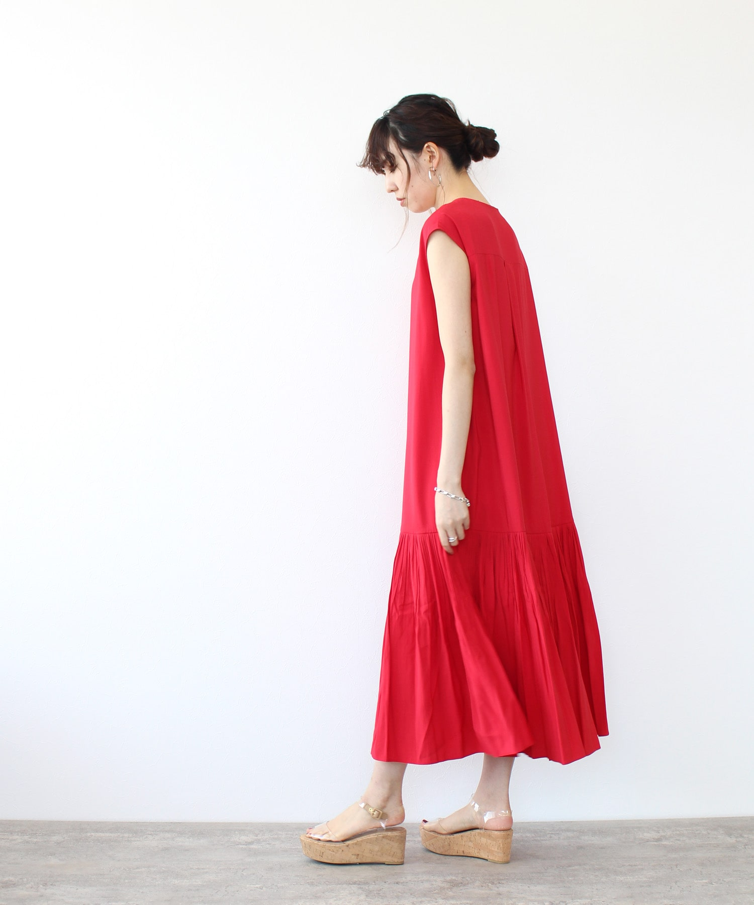 <Sugar Rose>hem pleats gather dress