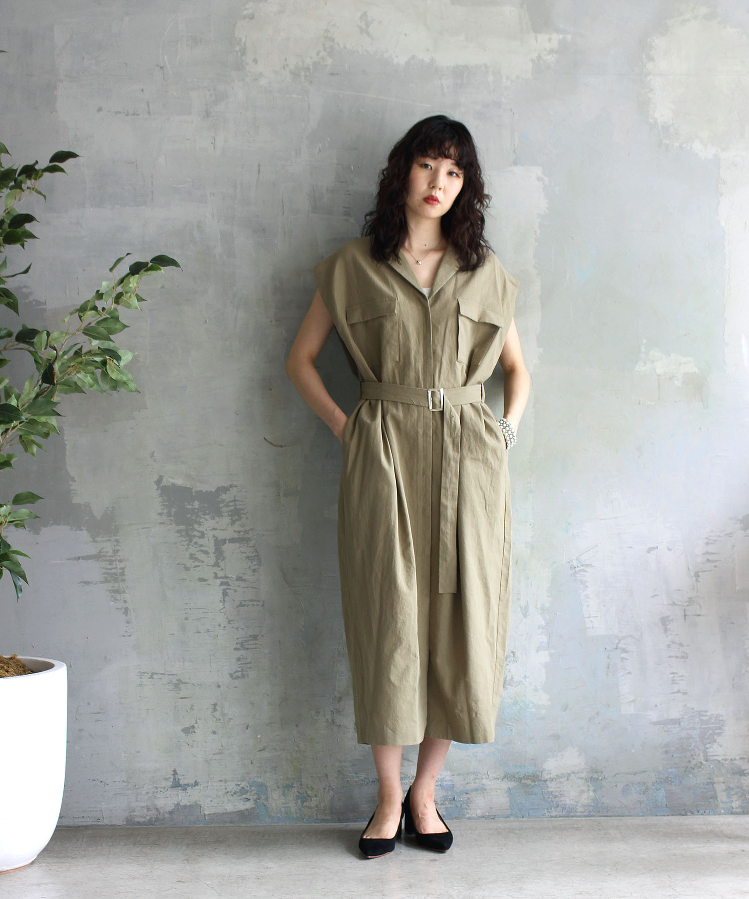 <Sugar Rose>military belt shirt dress