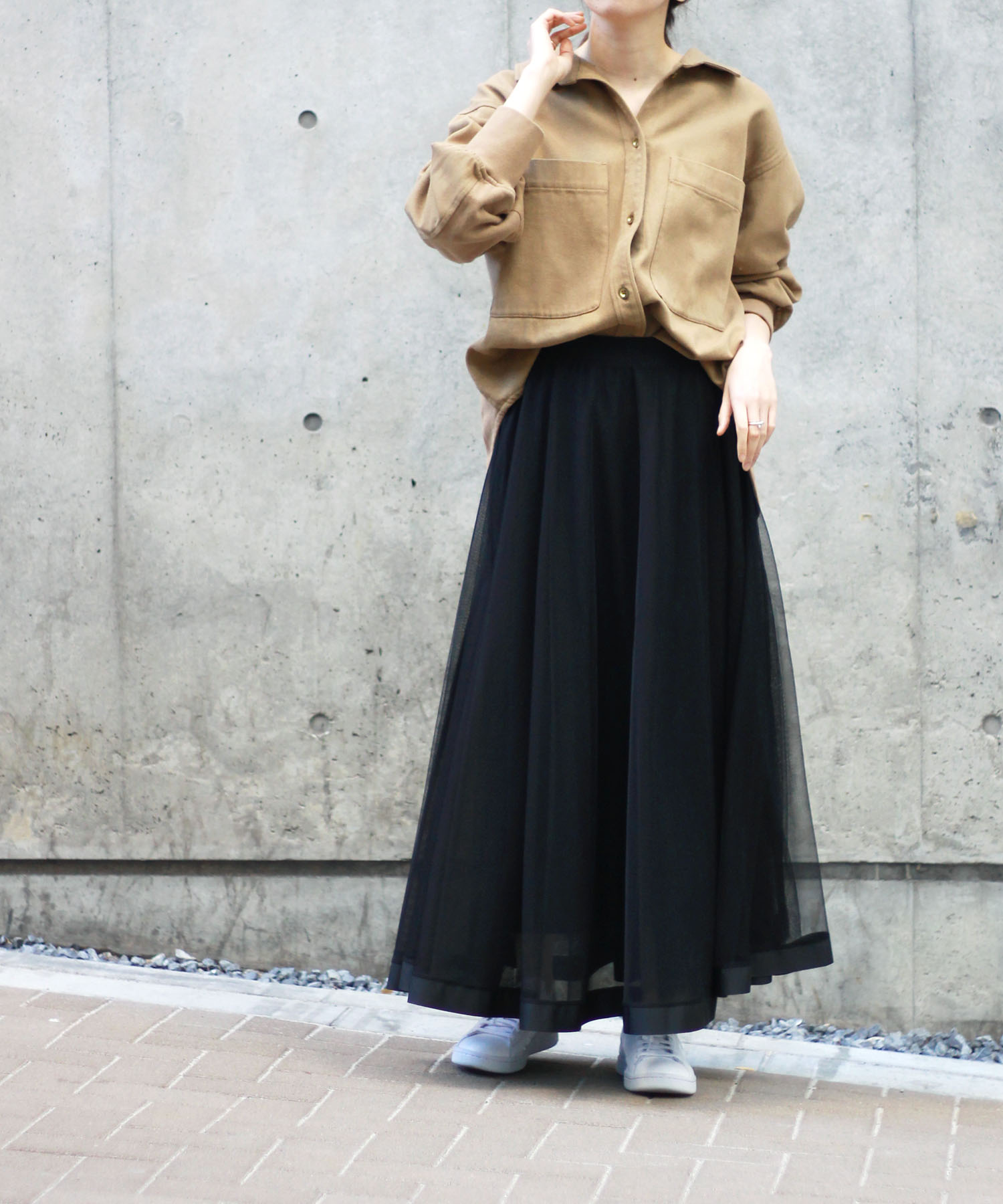 <Sugar Rose>reversible tulle skirt