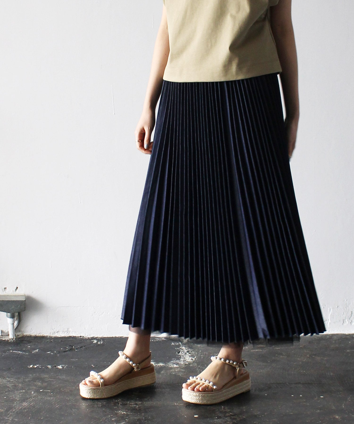 <Sugar Rose>denim×tulle reversible skirt