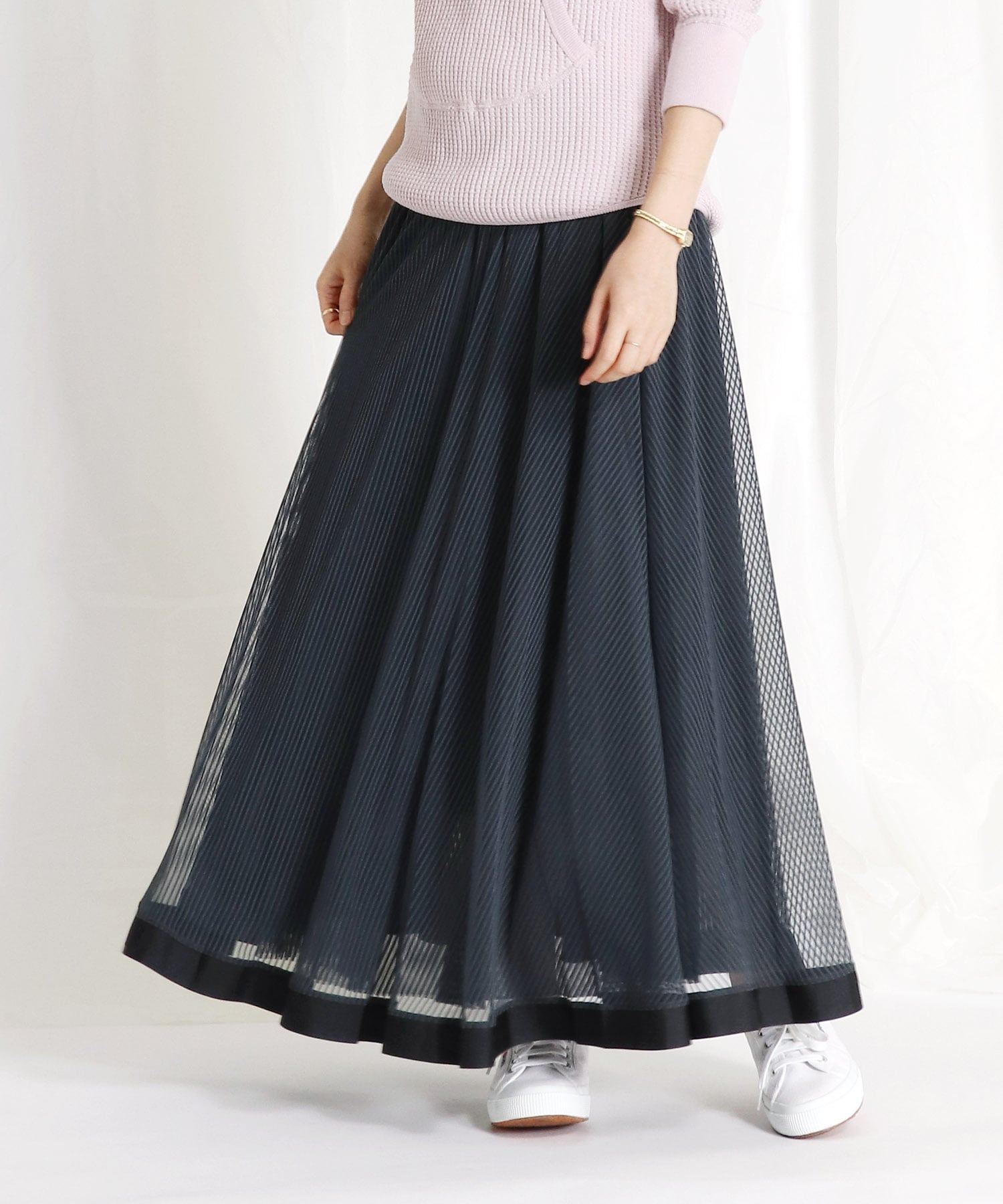 <Sugar Rose>stripe tulle reversible skirt