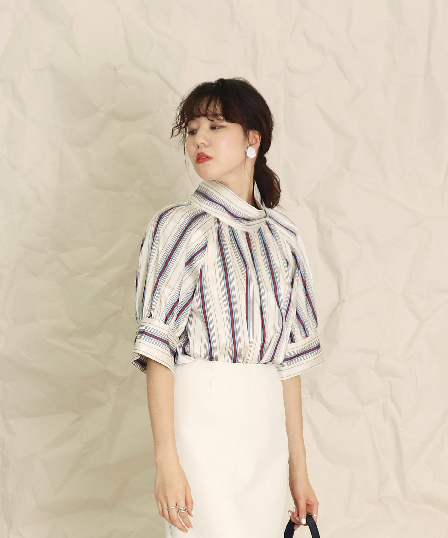 <B7>shiny multi stripe blouse