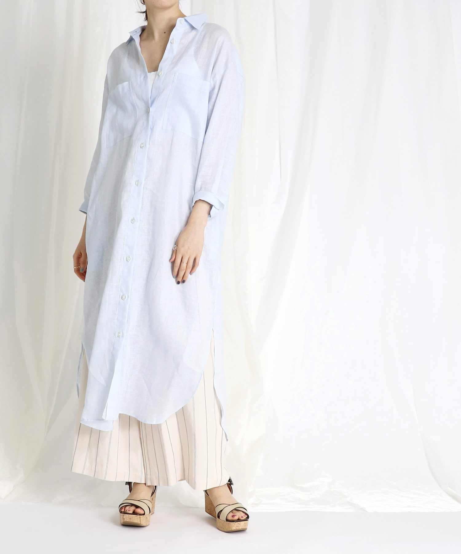 <B7>wash linen long shirt